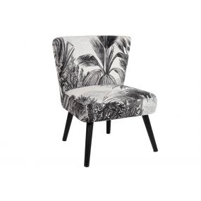 ARMCHAIR POLYESTER WOOD 56X60X71 LEAVES WHITE