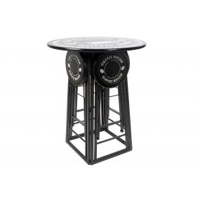 AUXILIARY TABLE SET 4 METAL 176X60X102 STOOL BLACK
