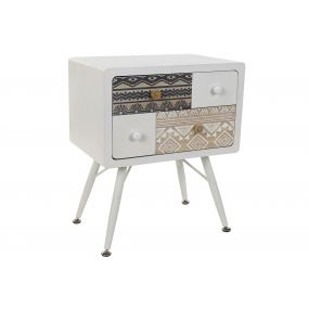 BEDSIDE TABLE MDF METAL 48X35X59 TRIBAL WHITE