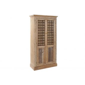 CLOSET SPRUCE 90X38X180,5 CARVED NATURAL BROWN