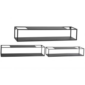 ESTANTERIA PARED SET 3 METAL 95X20X20 NEGRO