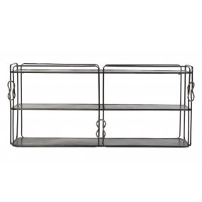 WALL SHELVING METAL 124X23X55 KNOT AGED BLACK