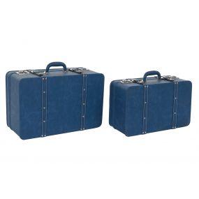 BOX SET 2 PU WOOD 55X35X24 BAG BLUE