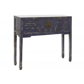 CONSOLE TABLE ELM 100X26X87 LACQUERED NAVY BLUE