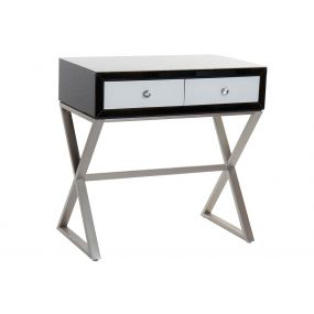 CONSOLE TABLE METAL GLASS 80X45X79 WHITE