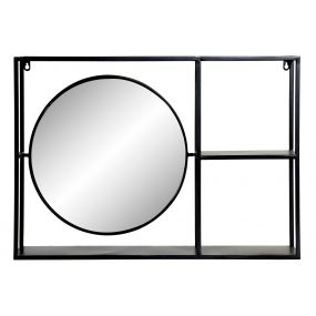 WALL SHELVING METAL MIRROR 70X13X50 BLACK