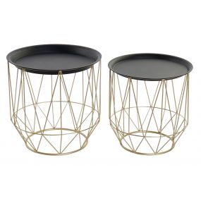 AUXILIARY TABLE SET 2 METAL 49,5X49,5X50 GOLDEN