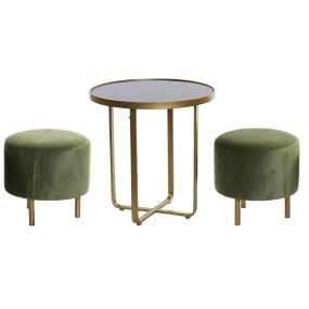 AUXILIARY TABLE SET 3 METAL POLYESTER 50X50X52,5