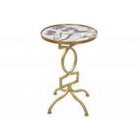 AUXILIARY TABLE METAL GLASS 40X40X60,5 GEOMETRIC