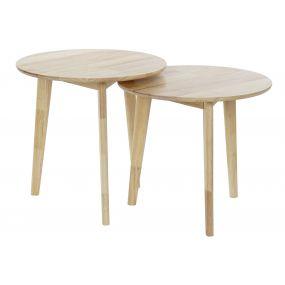 AUXILIARY TABLE SET 2 RUBBERWOOD 50X50X49,5