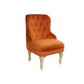 ARMCHAIR POLYESTER WOOD 60X67X92 VELVET ORANGE