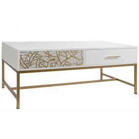 COFFEE TABLE MELAMINE METAL 120X60X46,5 GOLDEN