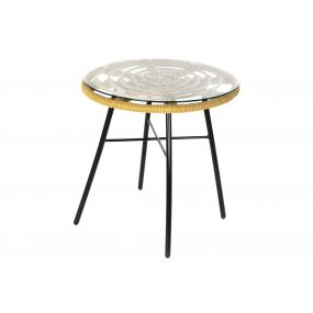 AUXILIARY TABLE SYNTHETIC RATTAN GLASS 44X44X43