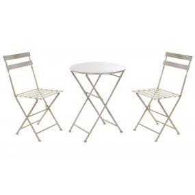 TABLE SET 3 METAL 60X60X70 FOLDING LIGHT GRAY
