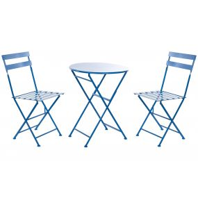 TABLE SET 3 METAL 60X60X70 FOLDING BLUE