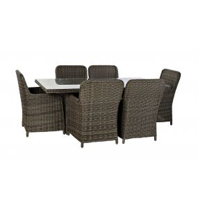 TABLE SET 7 SYNTHETIC RATTAN 200X100X75 5 MM. EXTE