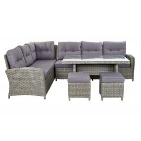 COUCH SET 4 SYNTHETIC RATTAN 267X204X90 5 MM. EXTE