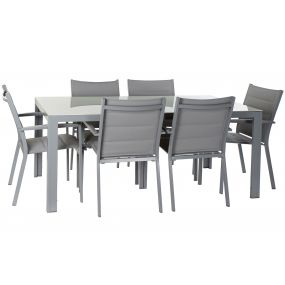 TABLE SET 7 ALUMINIUM GLASS 180X90X75,5 GREY