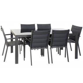 TABLE SET 7 ALUMINIUM GLASS 180X90X75,5 DARK GRAY