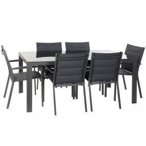 TABLE SET 7 ALUMINIUM GLASS 180X90X75,5 DARK GRAY
