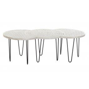 COFFEE TABLE SET 3 MANGO METAL 135X61X46 DECAPE