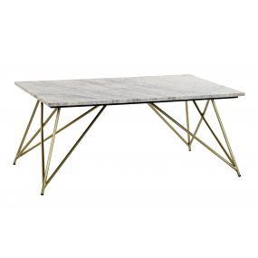 COFFEE TABLE MARBLE BRASS 100X61X42 MARBLE WHITE