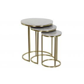 AUXILIARY TABLE SET 3 MARBLE IRON 51,5X51,5X60