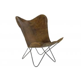CHAIR LEATHER METAL 76X77X91 BUTTERFLY BROWN