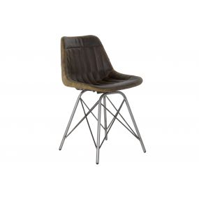 CHAIR LEATHER METAL 46X48X78 BROWN