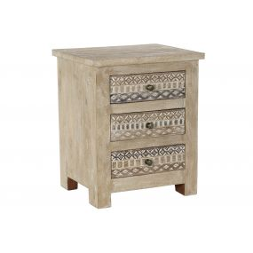 BEDSIDE TABLE MANGO MDF 50X40X60 NATURAL