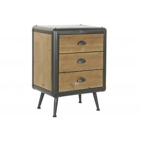 BEDSIDE TABLE SPRUCE METAL 51X40X70 NATURAL