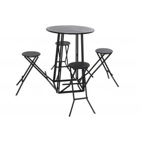 TABLE SET 4 METAL 185X185X103 BLACK