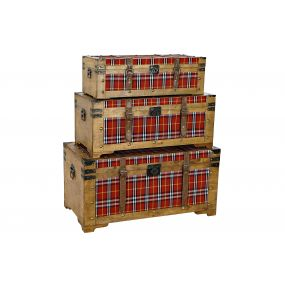 TRUNK SET 3 POPLAR POLYESTER 90X49X45 PICTURE RED