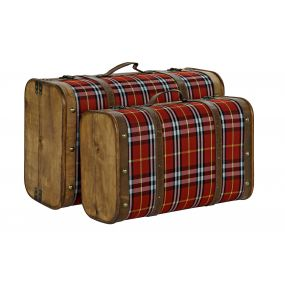 TRUNK SET 2 POPLAR POLYESTER 60X24X38 PICTURE RED