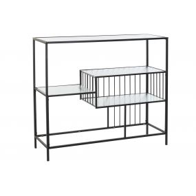 SHELVING METAL GLASS 115X35X100 BLACK
