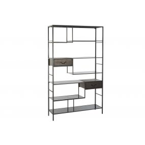 SHELVING METAL GLASS 115X34,5X195 BLACK