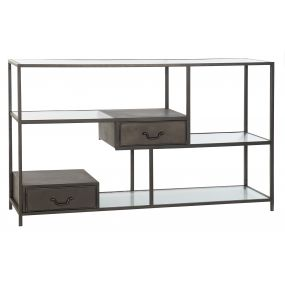 SHELVING METAL GLASS 140X35,5X83 BLACK