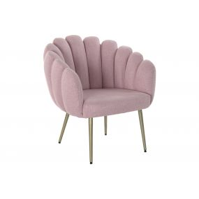 ARMCHAIR POLYESTER METAL 67X64X77 SHELL PINK