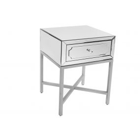 BEDSIDE TABLE MIRROR MDF 52X49X70 SILVER