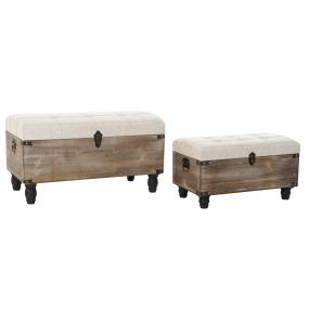 SHOE-REMOVING CHAIR SET 2 WOOD POLYESTER 80X42X44