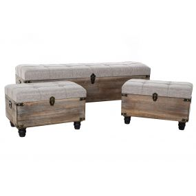 SHOE-REMOVING CHAIR SET 3 WOOD POLYESTER 119X41X42