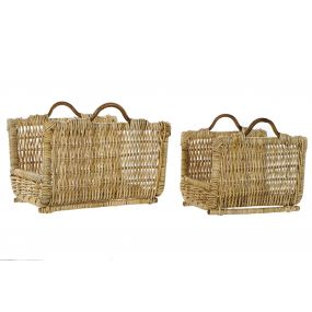 WOODSHED SET 2 RATTAN 50X40X32 NATURAL BROWN