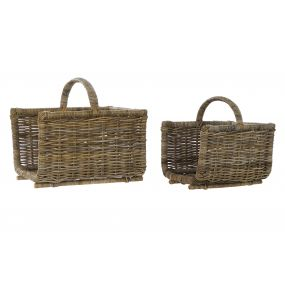 WOODSHED SET 2 RATTAN 50X40X45 BROWN