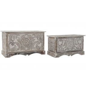 CHEST SET 2 MDF METAL 80X42X46,6 CARVED WHITE