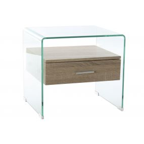 BEDSIDE TABLE GLASS MDF 50X40X45,5 10 MM.