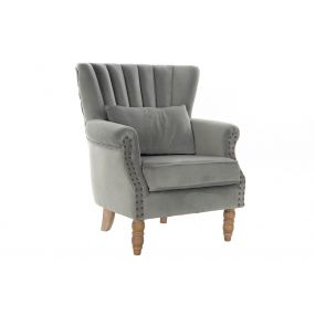 ARMCHAIR VELVET RUBBERWOOD 73X75X87 CUSHION