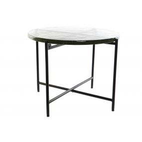 AUXILIARY TABLE DOUBLE GLASS METAL 60X60X42 BLACK