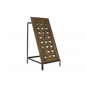 BOTTLE RACK WOOD METAL 43X50X90 24 BOTTLES BROWN