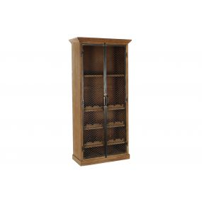 BOTTLE RACK WOOD METAL 85,5X40X183 BROWN