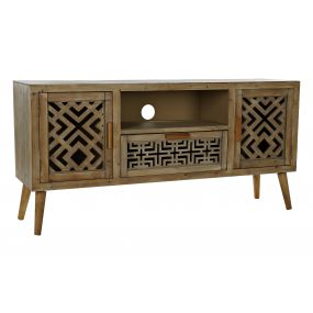 TV CABINET PINE TREE MDF 140X38X68 CARVED NATURAL